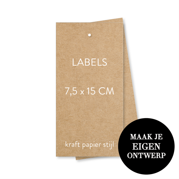 7,5 x 15 cm Labels - kraft look