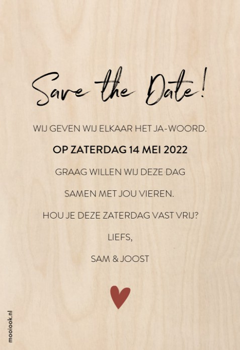 Save the date hout Elegant clean achter
