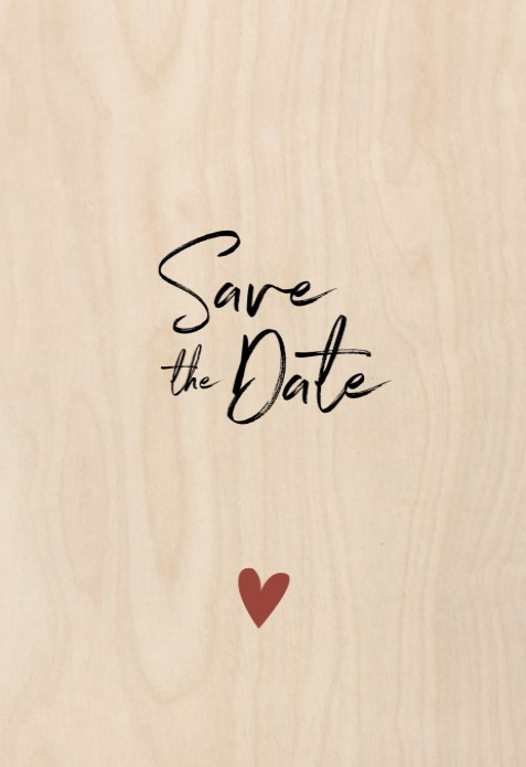Save the date hout Elegant clean voor