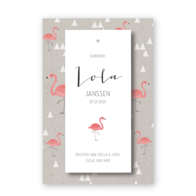 geboortekaartje-splitpen-label-flamingo-lola